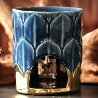 Aromalampe art deco blå